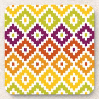 Colorful Aztec Tribal Print Ikat Diamond Pattern Drink Coaster