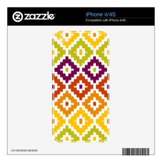 Colorful Aztec Tribal Print Ikat Diamond Pattern iPhone 4S Skin