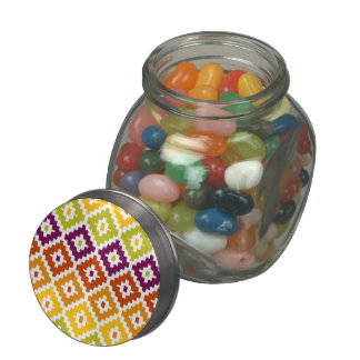 Colorful Aztec Tribal Print Ikat Diamond Pattern Jelly Belly Candy Jar