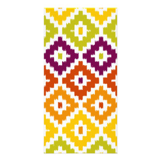 Colorful Aztec Tribal Print Ikat Diamond Pattern Picture Card