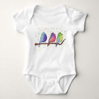 Colorful Baby Birds Baby Bodysuit