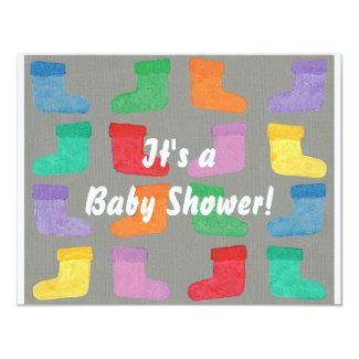 Colorful Baby Boots Unisex Shower Invitations