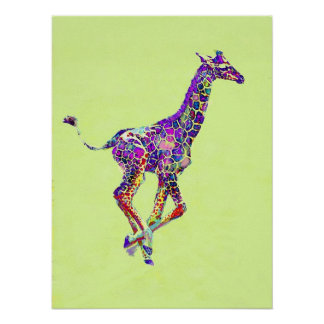 colorful baby giraffe poster