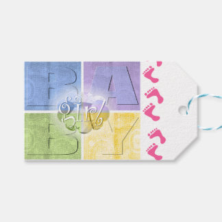 Colorful Baby Girl Gift Tags