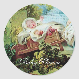 COLORFUL BABY SHOWER CLASSIC ROUND STICKER