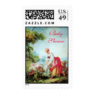 COLORFUL BABY SHOWER POSTAGE STAMPS
