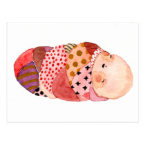 Colorful Baby Watercolor Postcard