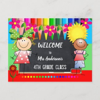 Colorful Back to School Chalkboard Postcard