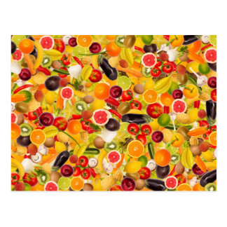 Colorful background of fruits and vegetables postal