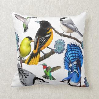 Colorful Backyard Wild Birds Pillow