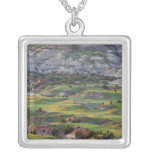 Colorful badlands from Buck Hill overlook in Square Pendant Necklace