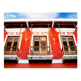 Colorful  balcony windows of San Juan, Puerto Rico Postcard