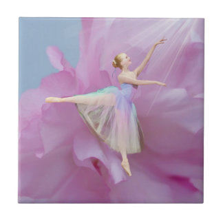 Colorful Ballerina in Arabesque Customizable Ceramic Tile