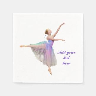 Colorful Ballerina in Arabesque, Customizable Text Standard Cocktail Napkin
