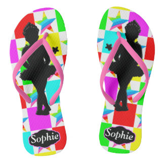 COLORFUL BALLERINA STAR PERSONALIZED FLIP FLOPS