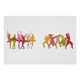 Colorful Ballerinas and Hip Hop Dancers Poster