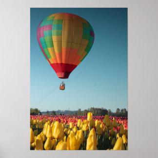 Colorful Ballon & Yellow Tulips Poster