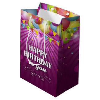 Colorful Ballons Purple Happy Birthday To You Medium Gift Bag