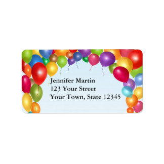 Colorful Balloon Arch Address Label