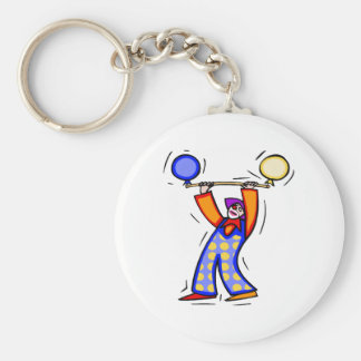 Colorful Balloon Exercise Clown Basic Round Button Keychain