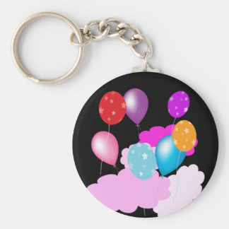colorful balloons and clouds party accessories keychain
