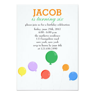 Colorful Balloons Birthday Party Card