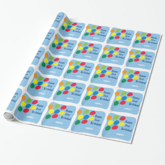 Colorful Balloons Boys 1st Birthday Wrapping Paper