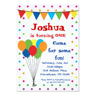 Colorful Balloons, Circus Carnival Birthday Party Card