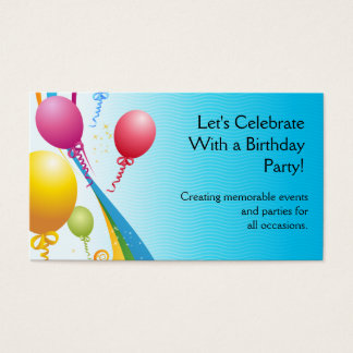 Colorful Balloons   Curly Ribbons Business Card