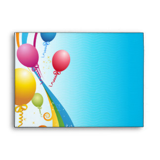 Colorful Balloons | Curly Ribbons Envelope