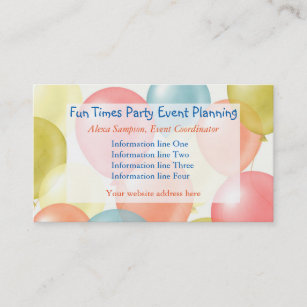 Birthday party entertainer business cards templates zazzle colorful balloons event planning business card colourmoves