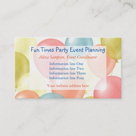 Colorful balloons event planning business card zazzle colorful balloons event planning business card colourmoves