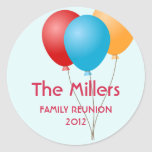 Colorful balloons family reunion party favor label classic round sticker