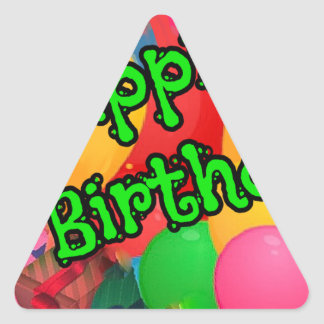 Colorful balloons greet your birthdate triangle sticker