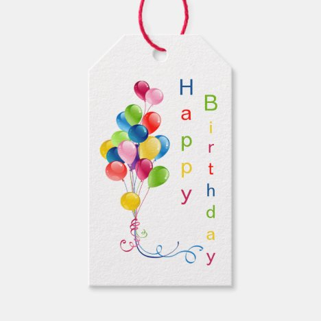 Colorful Balloons, Happy Birthday Gift Tags