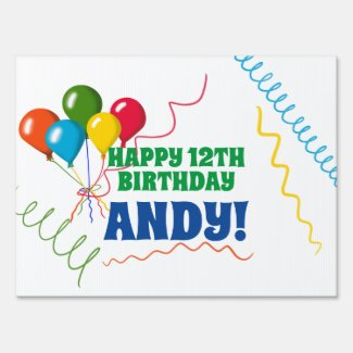 Colorful Balloons Happy Birthday Yard Sign