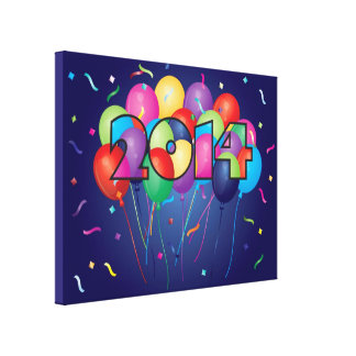 Colorful Balloons in 2014 Numeral Outline Canvas