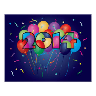 Colorful Balloons in 2014 Numeral Outline Poster