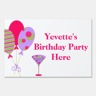 Colorful Balloons Ladies Birthday Party Yard Sign