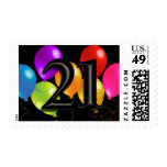 Colorful Balloons on Any Color - 21 Postage Stamps