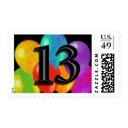 Colorful Balloons on Black - 13 Stamp
