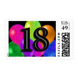 Colorful Balloons on Black - 18 Postage Stamps