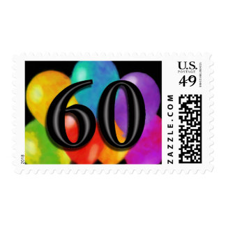 Colorful Balloons on Black - 60 Stamps
