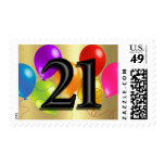 Colorful Balloons on Gold - 21 Stamps