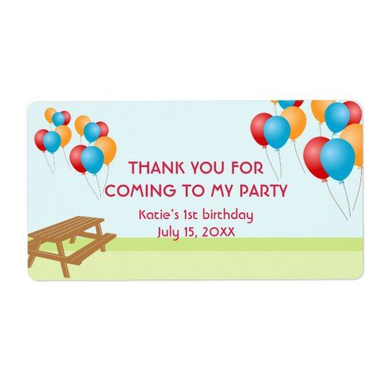 Colorful balloons outdoor picnic party favor label