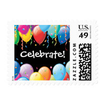 Colorful Balloons Party Stamp