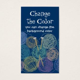 Colorful balls of yarn knitting needles biz cards