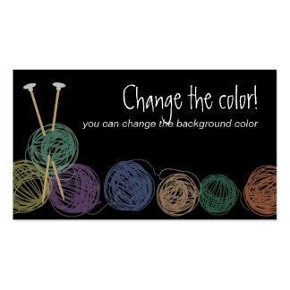 Colorful balls of yarn knitting needles biz cards business card template