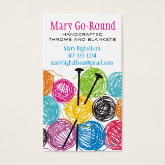 Colorful balls of yarn knitting needles knitter business card