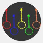 colorful banjos classic round sticker